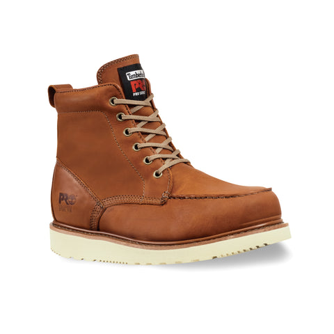 Timberland Pro 6In Wedge Sole Soft Toe Mens Rust Leather Work Boots