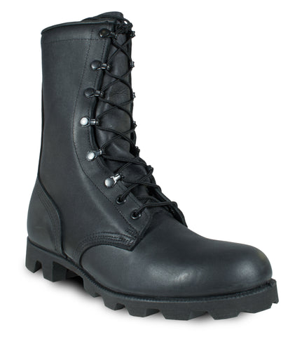 McRae Mens Black Leather Panama Military Combat Boots