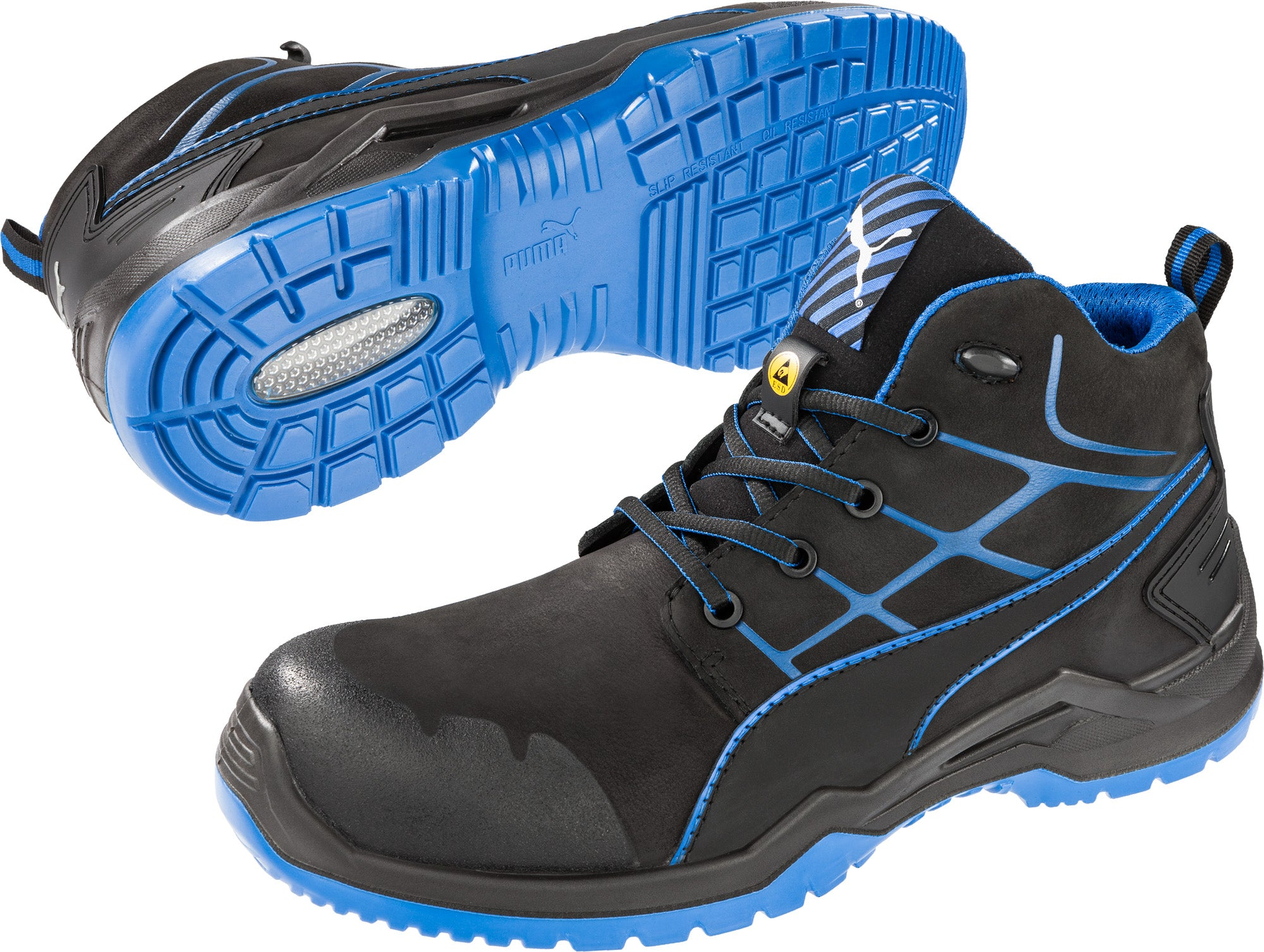 82e247fac62f44 ... Puma Safety Black Mens Leather Krypton Mid SD ASTM LaceUp Work Boots ...