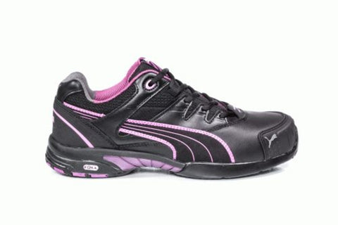 Puma Safety Black/Purple Womens Leather Stepper ESD ST Oxford Work Shoes