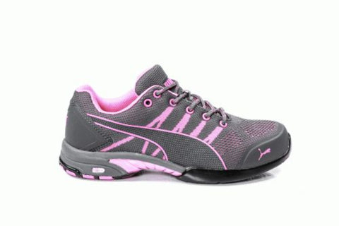 Puma Safety Pink/Grey Womens Textileelerity Low ST Oxford Work Shoes