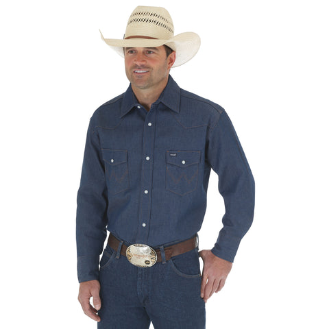 Wrangler Mens Rigid 100% Cotton Work Cowboy L/S Shirt