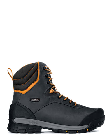 Bogs Mens Black Leather Bedrock 8in CT Insulated Work Boots