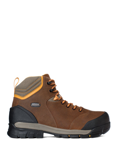 Bogs Mens Brown Leather Bedrock 6in CT Work Boots
