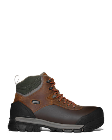 Bogs Mens Brown Multi Leather Bedrock Shell CT 6in Work Boots