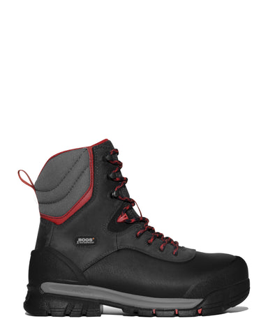 Bogs Mens Black Multi Leather Bedrock Shell CT 8in Work Boots