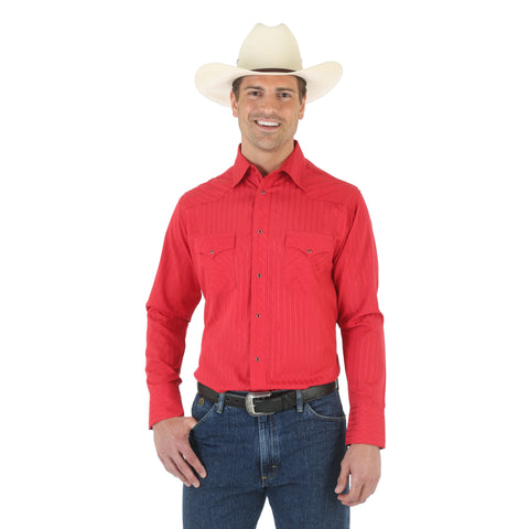 Wrangler Red Cotton Blend Mens Sport Western L/S Shirt