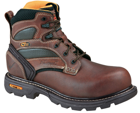 Thorogood Mens Genflex Brown Leather Work Boots 6in Plain Safety Toe