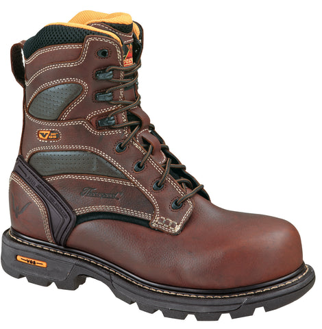 Thorogood Mens Genflex Brown Leather Work Boots 8in Plain Safety Toe