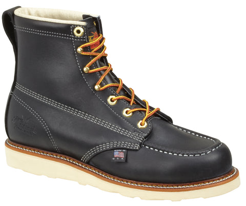 Thorogood Mens Wedges Black Leather Non-Safety Boots 6in Moc Toe