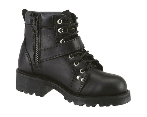 AdTec Womens Black 6in Lace Zipper Boot Leather Motorcycle