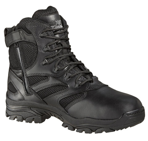 Thorogood Mens Tactical Black Leather Boots 6in Waterproof Side Zip