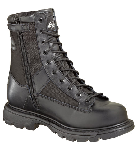 Thorogood Mens Tactical Black Leather WP Boots 8in Trooper Side Zip