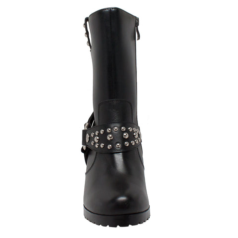 Ride Tecs Womens Black 10in Harness Biker Boot Leather Motorcycle