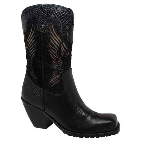 Ride Tecs Womens Black 11in Laser Eagle Boot Leather Motorcycle