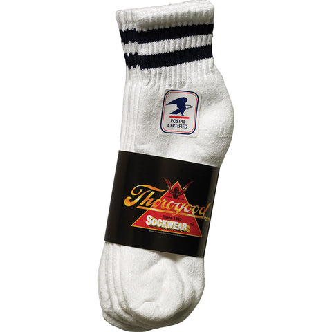 Thorogood Unisex Postal Blue White Cotton Blend 3 Pack Socks Mini Crew