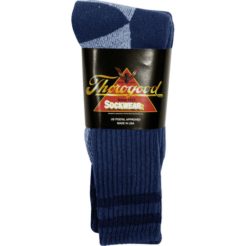 Thorogood Unisex Postal Navy Cotton Blend Stripes 3 Pack Crew Socks