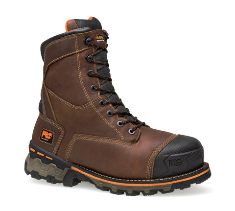 Timberland Pro 8In Boondock Ins Soft Toe WP Mens Brown Leather Work Boots