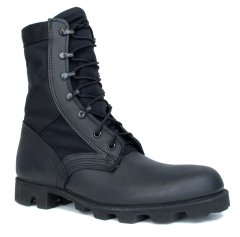 McRae Mens Black Leather/Nylon Panama Military Jungle Boots