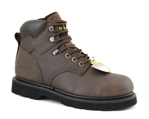 AdTec Mens Brown 6in Steel Toe Work Boot Leather Lightweight