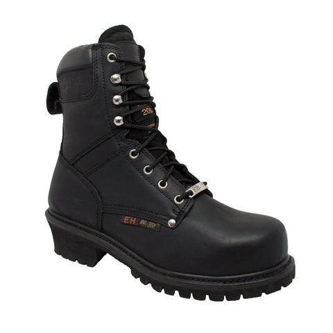 AdTec Mens Black 9in Steel Toe Super Logger Leather