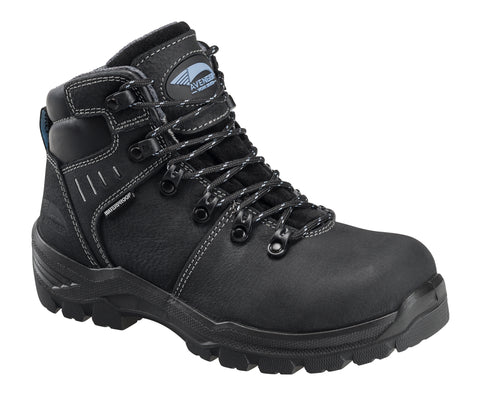 Avenger Womens Black Leather Comp Toe 7450 WP Work Boots