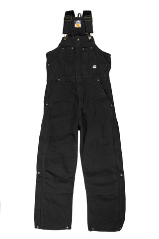 Berne Mens Black 100% Cotton Insulated Bib Overall