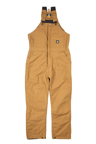 Berne Mens Brown Duck 100% Cotton Deluxe Insulated Bib Overall