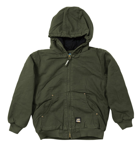 Berne Boys Olive Duck 100% Cotton Youth Hooded Jacket