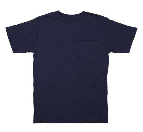 Berne Mens Navy 100% Cotton Heavyweight Pocket Tee S/S