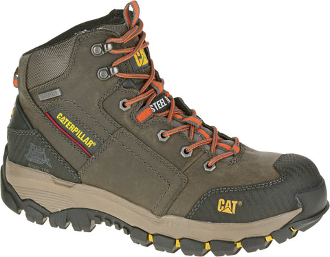 CAT Mens Navigator Mid Dark Gull Grey Leather Work Boots