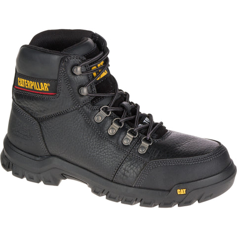 CAT Mens Outline St Black Leather Work Boots