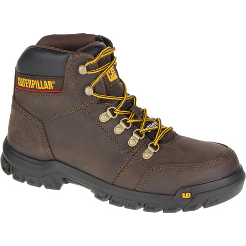 CAT Mens Outline St Seal Brown Leather Work Boots