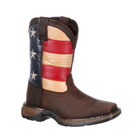 Lil Durango Big Kids Multi-Color Leather Union Flag Cowboy Boots