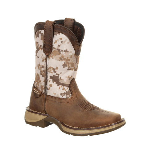 Lil Durango Big Kids Dusty/Camo Leather Digital Western Cowboy Boots