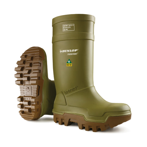 Dunlop Mens Green Purofort Thermo Plus Full Safety ST Work Boots