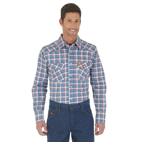 Wrangler Mens Blue/Red Cotton Blend Basic L/S Shirt