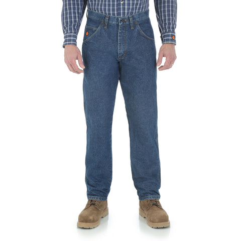 Wrangler Mens Blue 100% Cotton FR Relaxed Fit Jeans