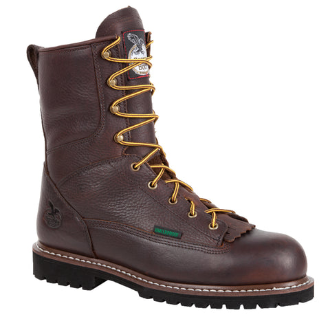 Georgia Mens Chocolate Leather Steel Toe WP Logger Work Boots