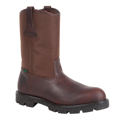 Georgia Homeland Mens Brown Leather Waterproof Wellington Work Boots