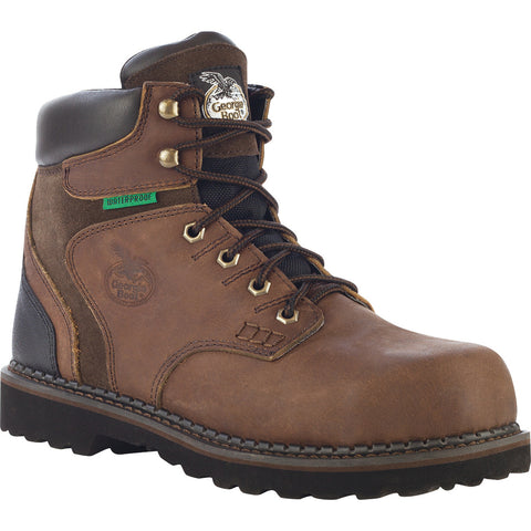 Georgia Brookville Mens Dark Brown Leather Steel Toe WP Work Boots