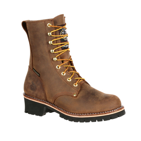 Georgia Mens Brown Leather Steel Toe Logger Insulated WP Work Boots