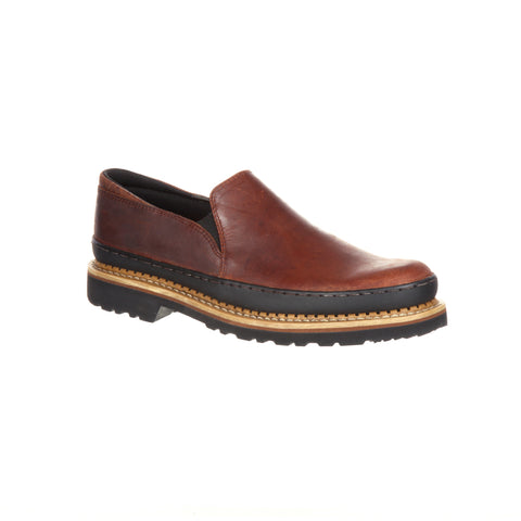 Georgia Mens Brown Leather Giant Twin Gore Slip-On Shoes