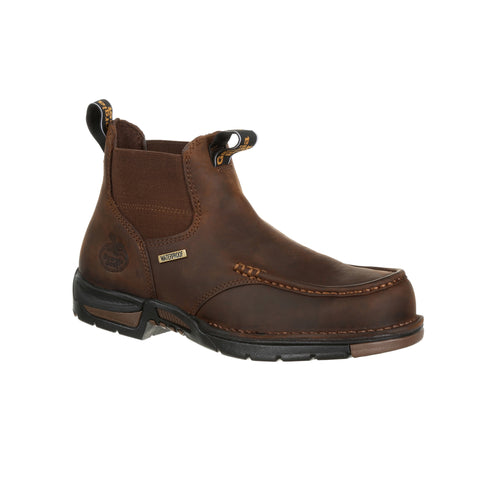 Georgia Mens Dark Brown Leather Athens Chelsea WP Work Boots
