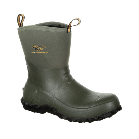 Georgia Mens Green Rubber 10in Waterproof Work Boots