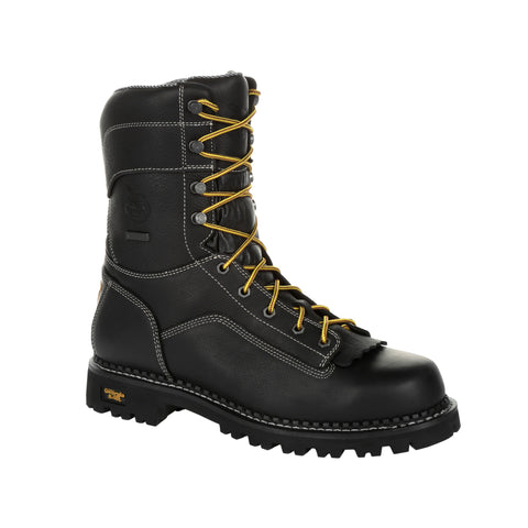 Georgia Mens Black Leather Logger CT WP Work Boots