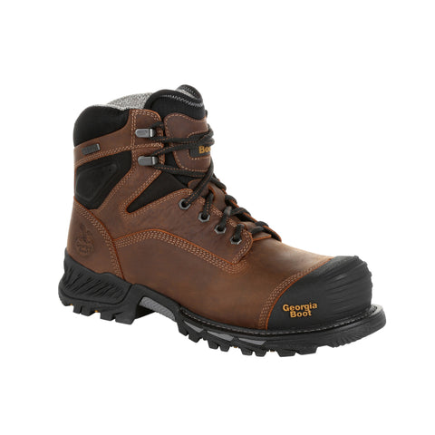 Georgia Mens Black/Brown Leather Rumbler WP Work Boots