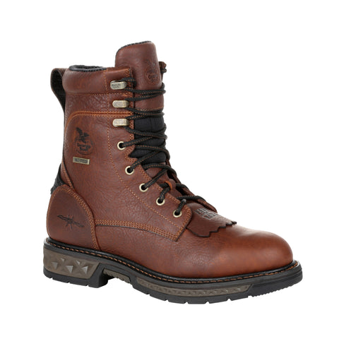 Georgia Mens Brown Leather LT WP Lacer Work Boots