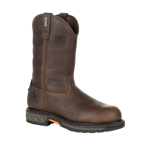 Georgia Mens Brown Leather Pull-On ST Work Boots