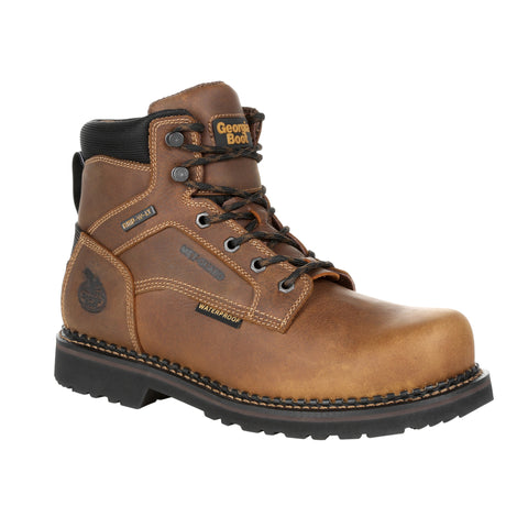 Georgia Mens Brown Leather Revamp ST MetG Work Boots